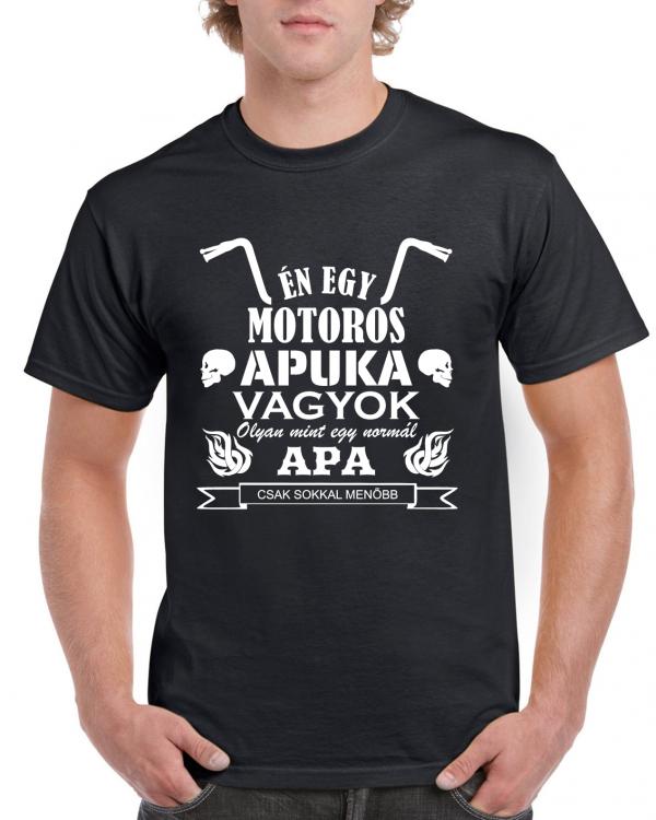 Motoros apuka fekete póló