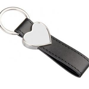 Szív alakú bőr-fém kulcstartó